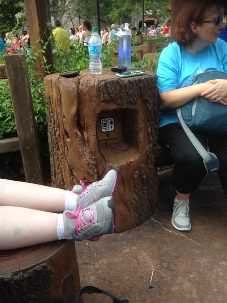Resting and charging our phones in a stump. (cleverly hidden outlets)